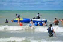 Summer camp programs water trampoline Lake Huron